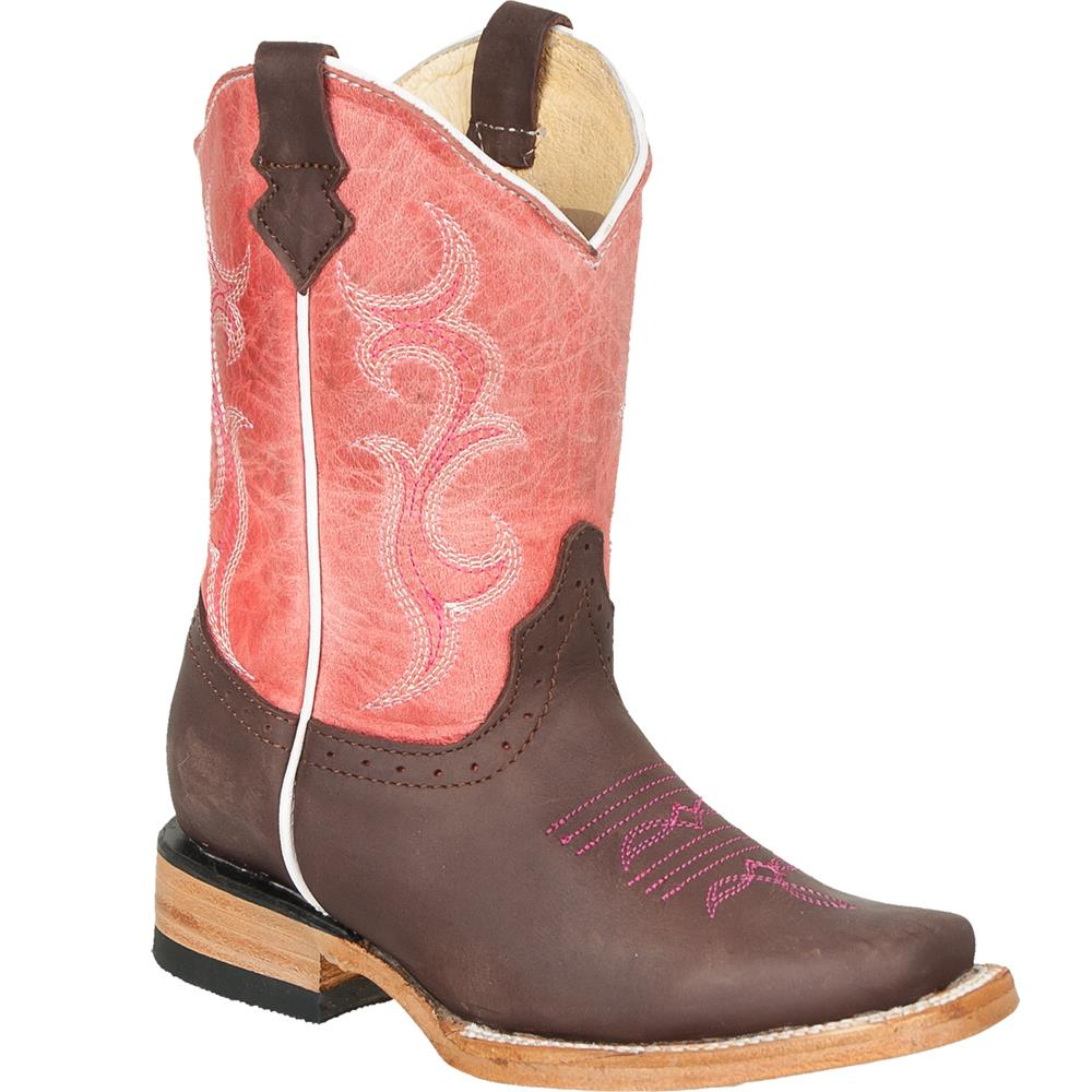 QUINCY Kids' Choco/Pink Rodeo Boots