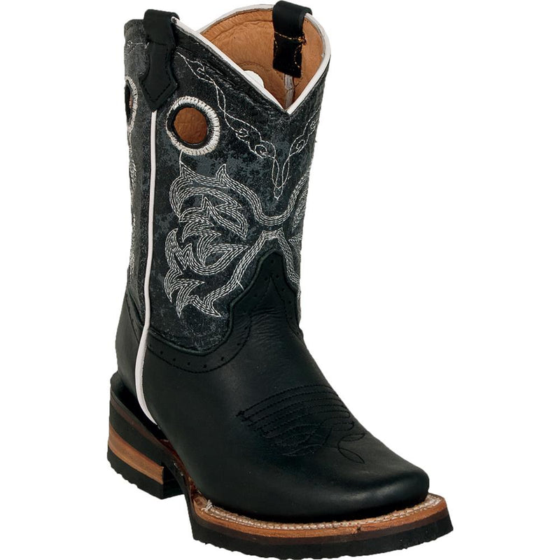 QUINCY Kids' Black Rodeo Boots
