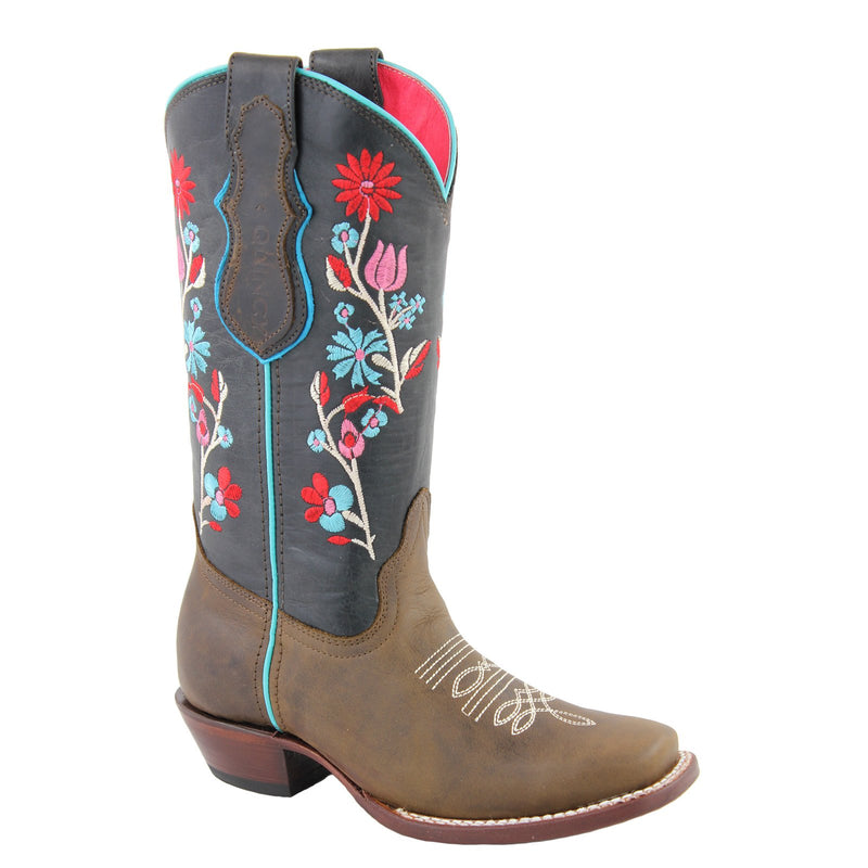 QUINCY Women's Choco/Pink Western Boots - Square Toe