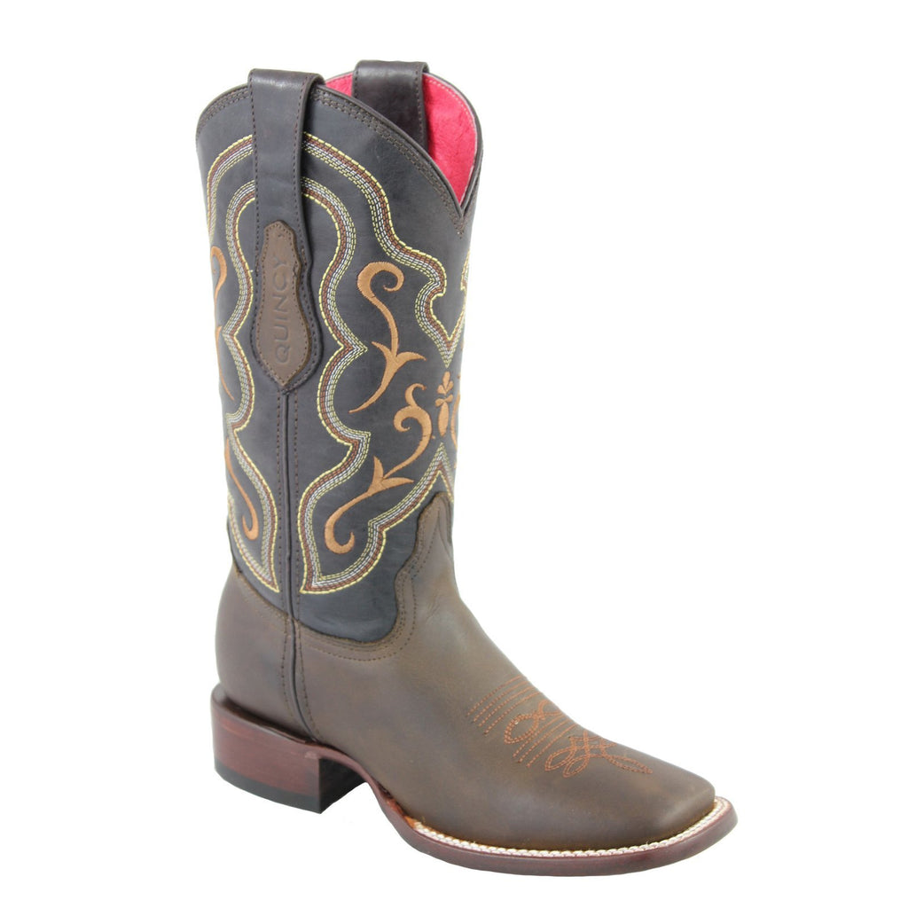 QUINCY Women's Tobacco Western Boots - Square Toe