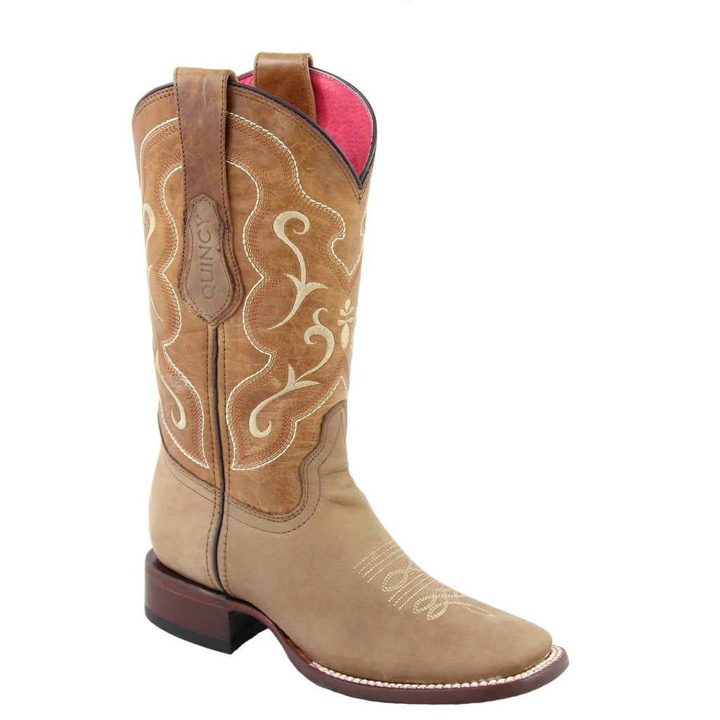 QUINCY Women's Tan Western Boots - Square Toe