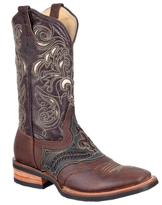 BLACK STONE Men's Brown Laser Rodeo Boots