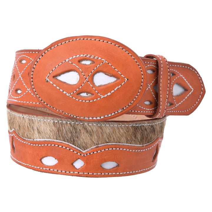 WHITE DIAMOND Men's Natural Cow Hair Western Belt