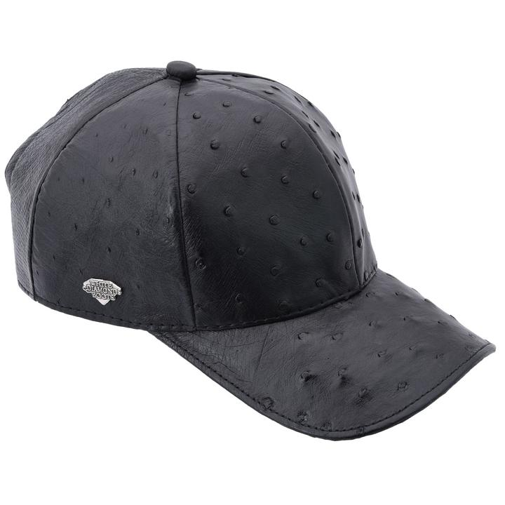WHITE DIAMOND Full Quill Ostrich Black Cap