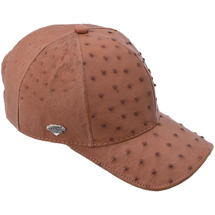 WHITE DIAMOND Full Quill Ostrich Cognac Cap