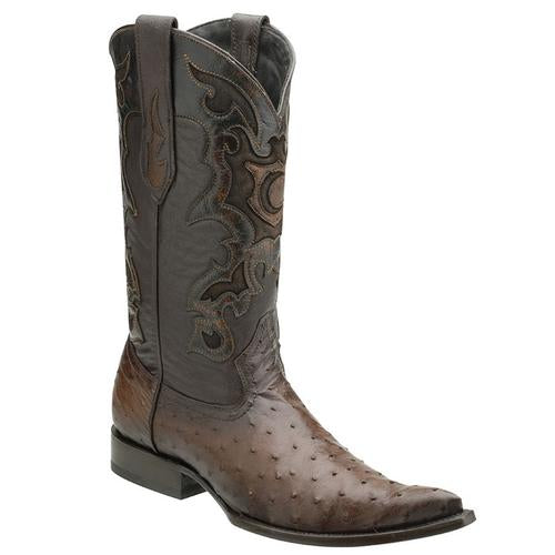 CUADRA Men's Flame Miel Full Quill Ostrich Exotic Boots - 3X Toe