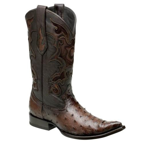 CUADRA Men's Brown Full Quill Ostrich Exotic Boots - 3X Toe