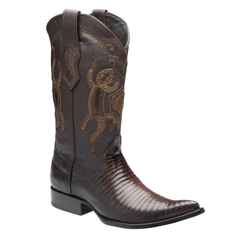 CUADRA Men's Brown Lizard Teju Exotic Boots- 3X toe