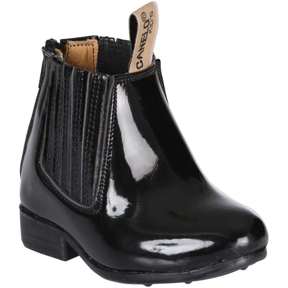 EL CANELITO Baby's Black Charol Ankle Boots