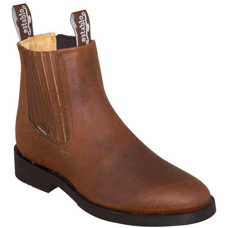 ESTABLO Men's Tan Ankle Boots