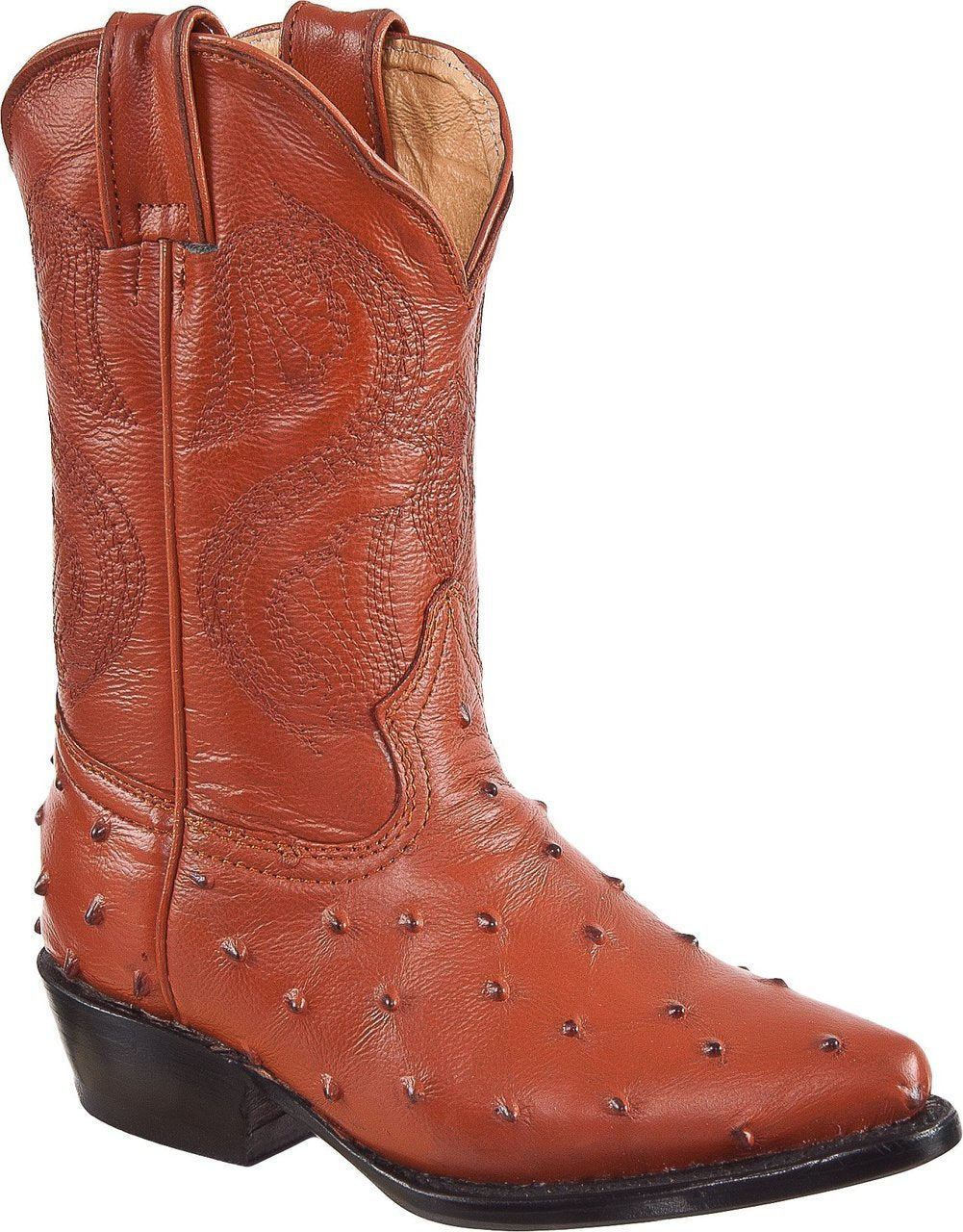 DIEGO'S Kids' Cognac Ostrich Print Boots - Pointed Toe