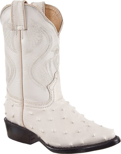 DIEGO'S Kids' Bone Ostrich Print Boots - Pointed Toe