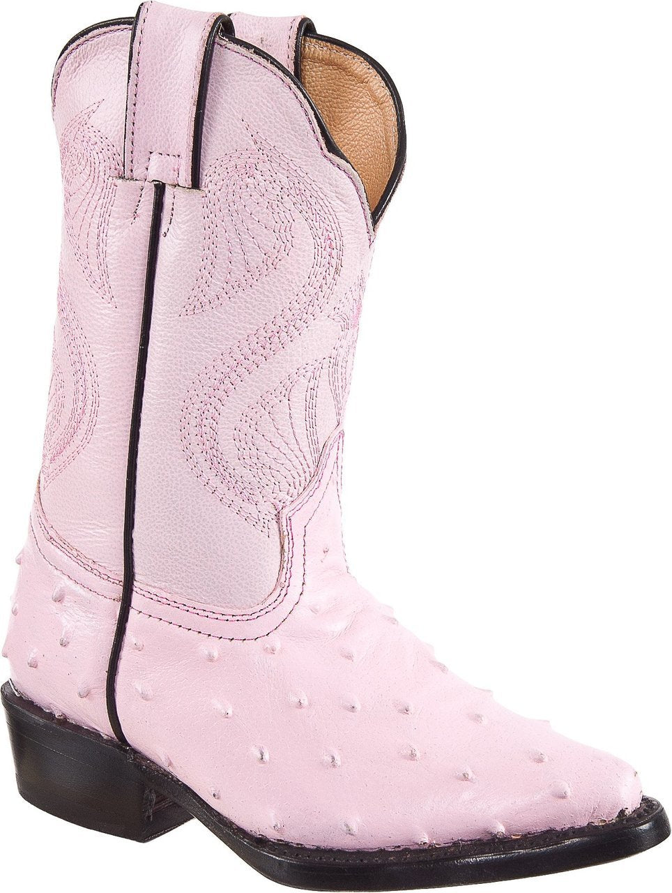 DIEGO'S Kids' Pink Ostrich Print Boots - Pointed Toe