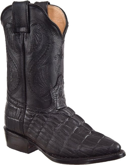 DIEGO'S Kids' Black Crocodile Print Boots - Pointed Toe