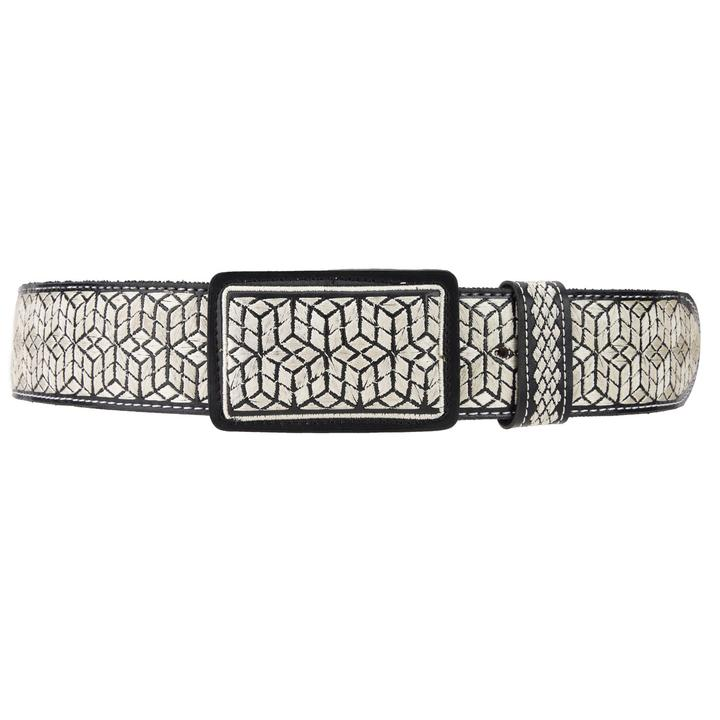 WHITE DIAMOND Men's Black Embroidered Western Belt