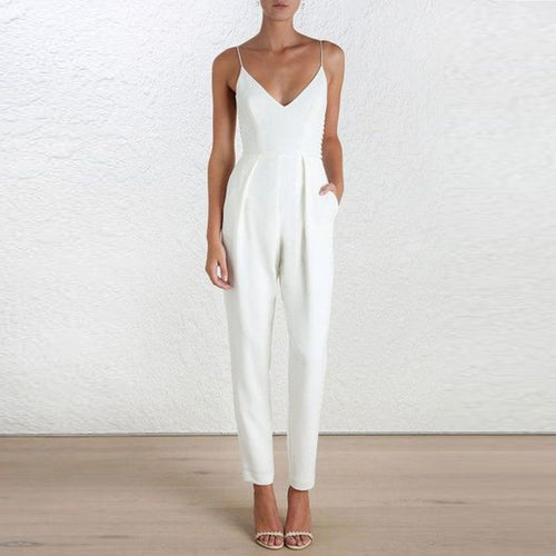 Elegant V Neck  Vacation Jumpsuit
