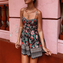 Load image into Gallery viewer, Bohamia Style Printed Slim Belted Mini Beach Vacation Dress