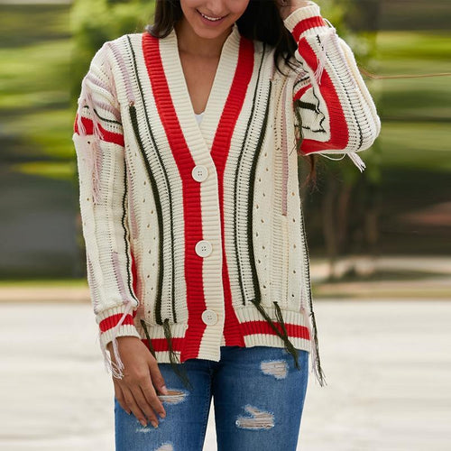 Fringed V-Neck Knit Cardigan