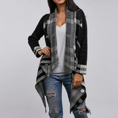 Plaid Button Hit Color Cardigan