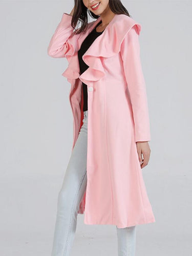 Asymmetric Neck  Single Button  Plain Trench Coat