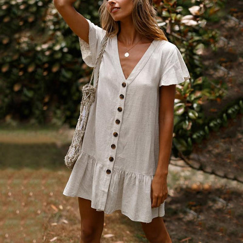 Single-Breasted Deep V-Neck Cotton And Linen Mini Dress
