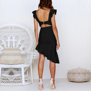 Fashion Sleeveless Slim Midi Evening Dress
