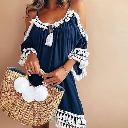 Casual Off Shoulder Vacation Dress