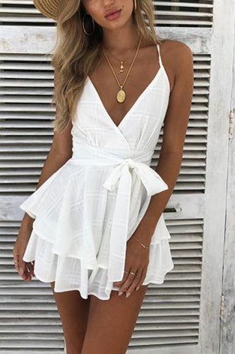 Sexy V Neck Sleeveless Mini Dress