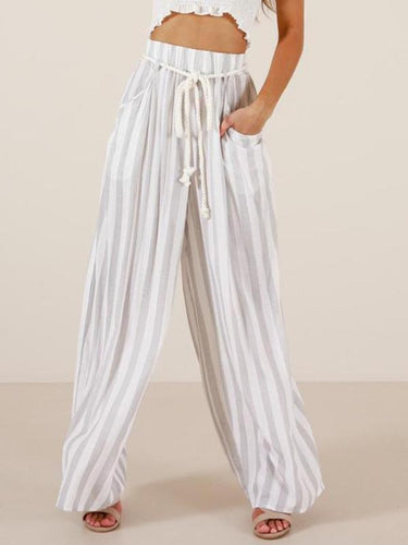 High Waist Stitching Casual Explosions Wide Leg Pants