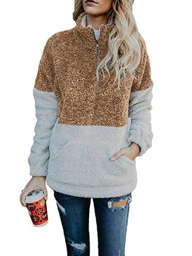 Contrast Color Stitching Plush Zipper Stand Collar Sweater