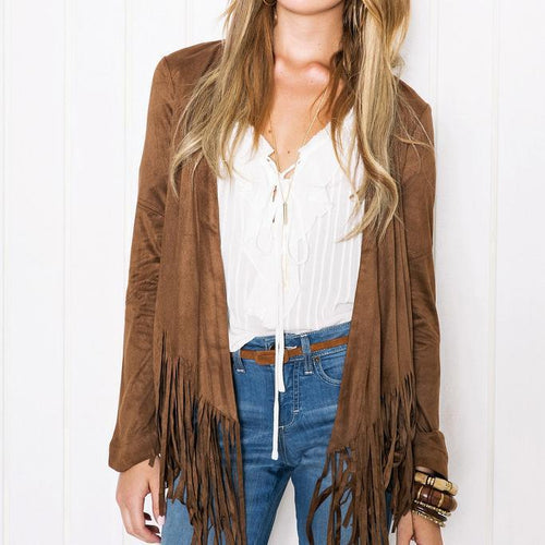Fashion Plaid Long Sleeve Fringe Hem Cardigan