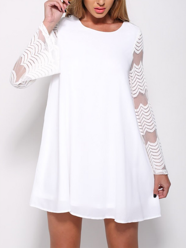 Crew Neck  Decorative Lace See-Through  Crochet Curved Hem  Lace  Bell Sleeve Shift Dresses