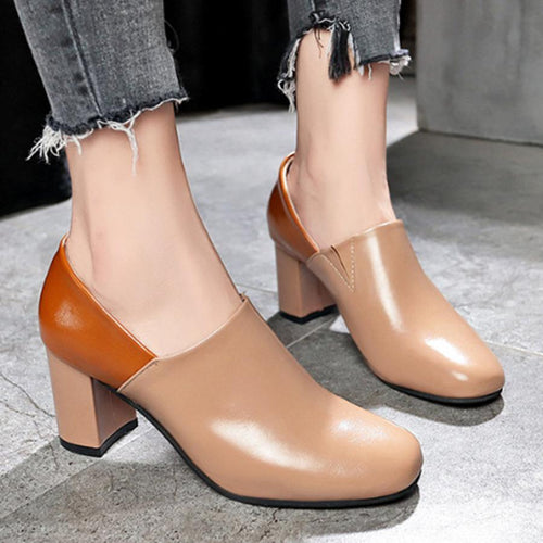 Color Block  Chunky  High Heeled  Round Toe  Date Office High Heels Boots