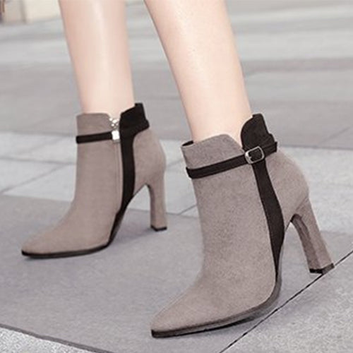 Color Block  Chunky  High Heeled  Velvet  Point Toe  Date Outdoor High Heels Boots