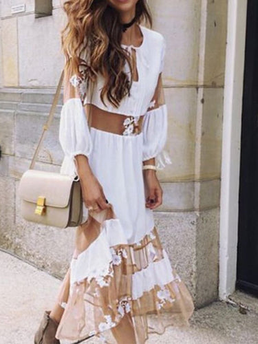 Bohemian V-Neck  Lace-Up Shift Dresses
