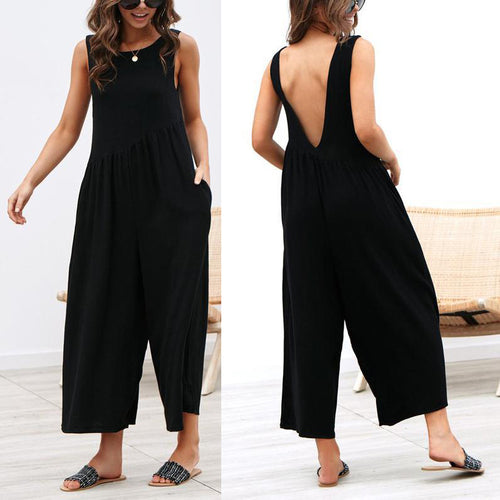Casual Round Neck Plain Loose Sleeveless Jumpsuit