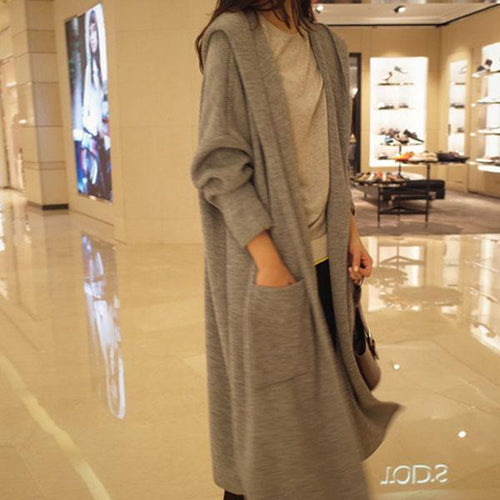 Medium And Long Solid Color Knit Cardigan