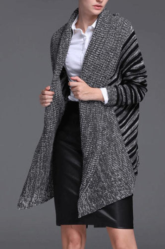 Band Collar  Striped Outerwear