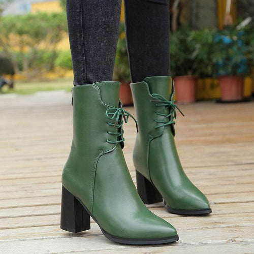 Women Plain High Heel Lace-Up Point Toe Fashion Boots