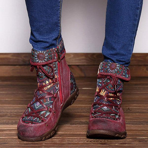 Strap Casual Retro Ethnic Leather Women's Boots