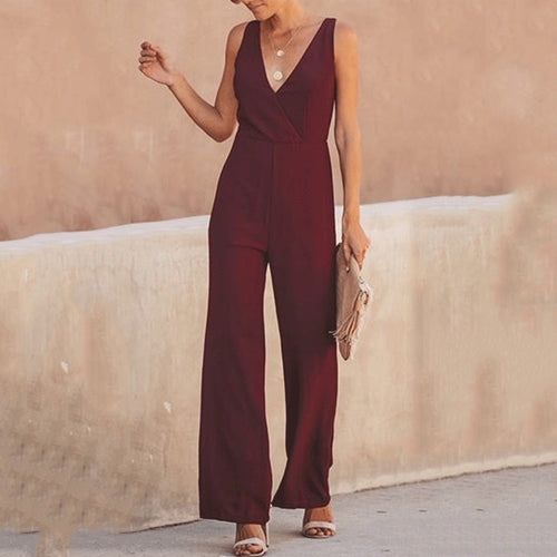 Elegant High Waist V Collar Vacation Jumpsuit