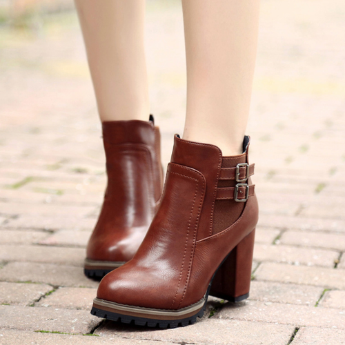 Women High Heel Plain Fashion Adjustable Buckle Ankle Boots