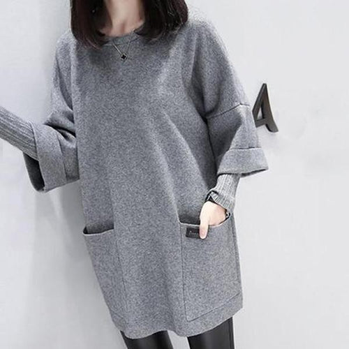 Casual Round Collar Wide Size Long Sleeved Casual Dress
