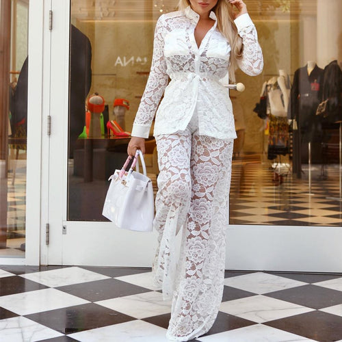 Sexy Woman Lace See Through Casual Suit Jumpsuits