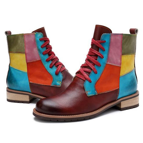 Contrast Stitching  Color Block Boots