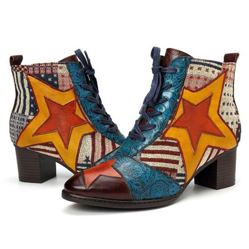 Contrast Stitching  Abstract Print Color Block Embossed Boots