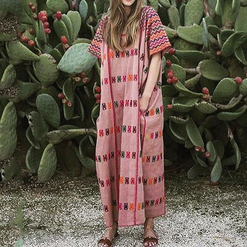 Lovely Round Collar Bohemia Style Loose Vacation Dress