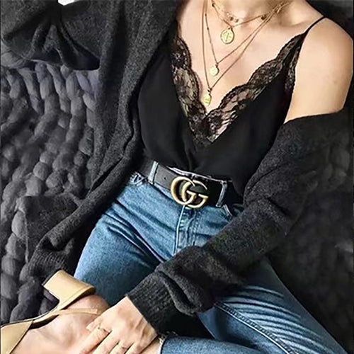Sexy Deep V Neck Lace Sling Top