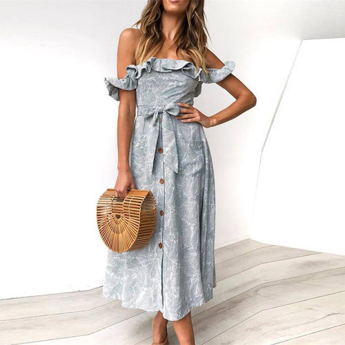 Sexy Word Shoulder Ruffled   Halter Strap Dress