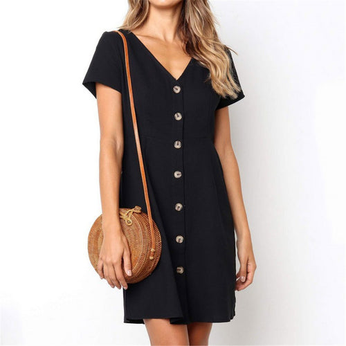 Daily Plain  V Collar Loose Mini Shift Dress